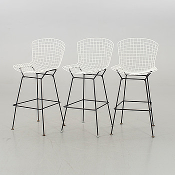 3 HARRY BERTOIA BAR STOOLS KNOLL INTERNATIONAL.