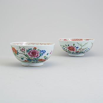 Two famille rose bowl, Qing dynasty, Qianlong (1736-95).