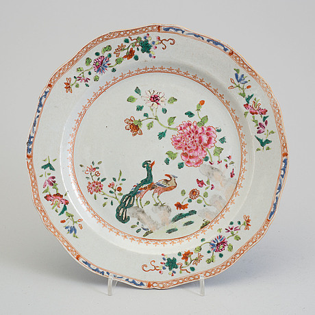 A famille rose 'double peacock' dish, qing dynasty, qianlong (1736 95)