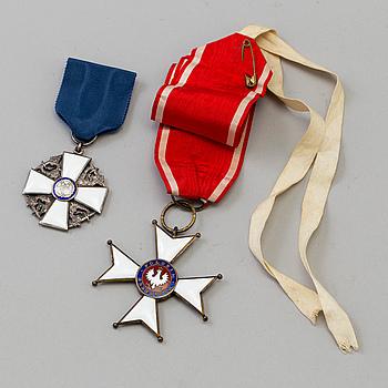 Polonia Restituta, neckbadge and Order of the White Rose, Finland breast badge.