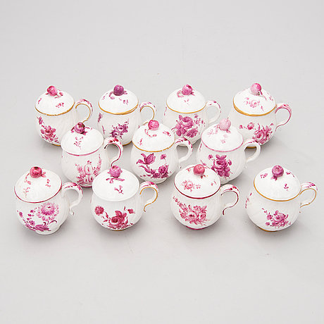 A set of 11 similar porcelain cream cups from marieberg, sweden, 18th century.