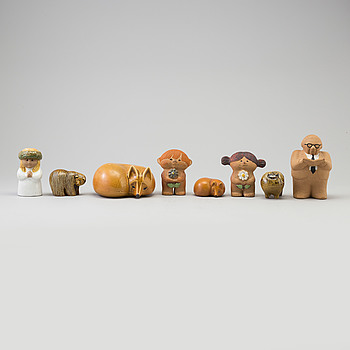 LISA LARSON, LISA LARSON, a set of eight stoneware figurines, Gustavsberg.
