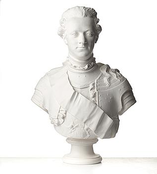 JOHAN TOBIAS SERGEL, efter. Byst, gips. Föreställande Gustav III. 1900-tal.