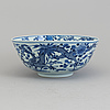 A blue and white porcelain bowl, qing dynasty, late 19th century.