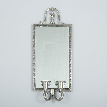 EDVIN OLLERS, EDVIN OLLERS, a pewter mirror wall sconce from Schreuder & Olsson, probably 1937.