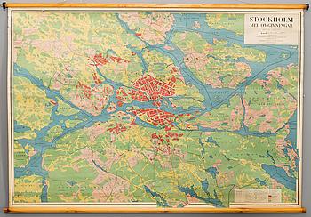 """KARTOR 2 st """"Mälarbygden"""" och """"Stockholm med omgivning"""" 1900-talets andra hälft."""