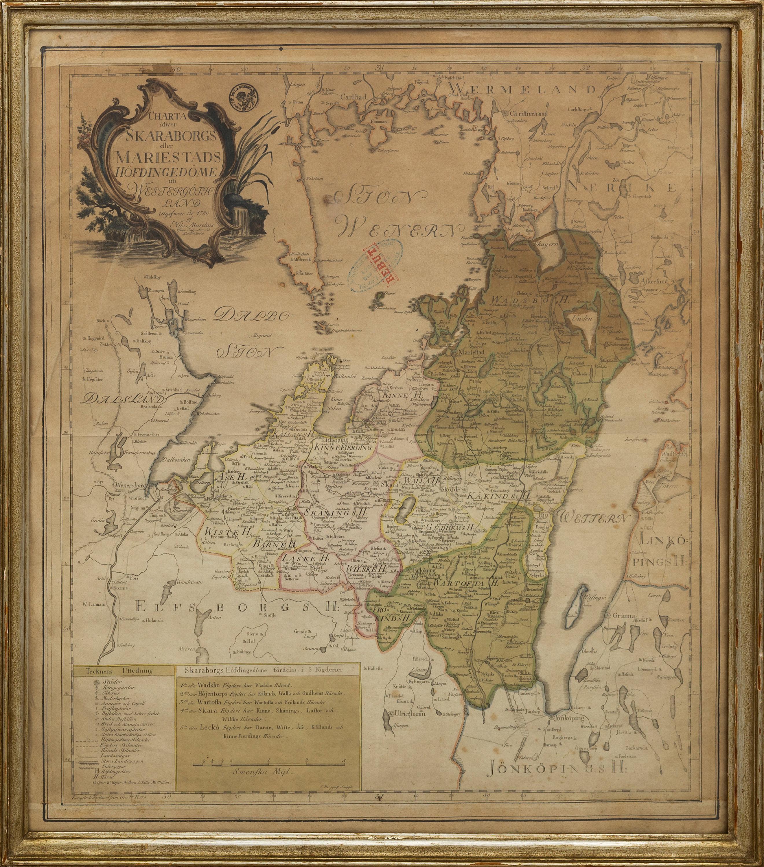 Karta Aten.Karta Delvis Kolorerat Trasnitt Nils Marelius 1780 Bukowskis