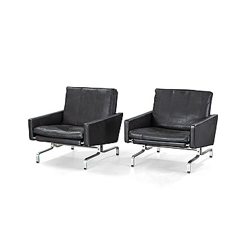 """A pair of """"PK31"""" chairs, designed by Poul Kjaerholm, one labeled Frtiz Hansen, 1983."""