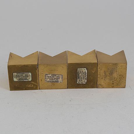 Pierre forssell, ljusstakar, 4 st, mässing, skultuna