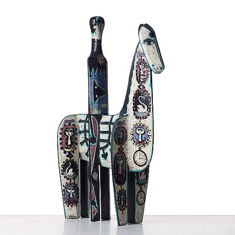 Birger kaipiainen, a ceramic sculpture of a horserider, rörstrand, sweden 1950's.