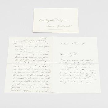 SELMA LAGERLÖF (1858-1940), två egenhändigt skrivna brev med kuvert, namnteckning, Falun 5 december 1911.