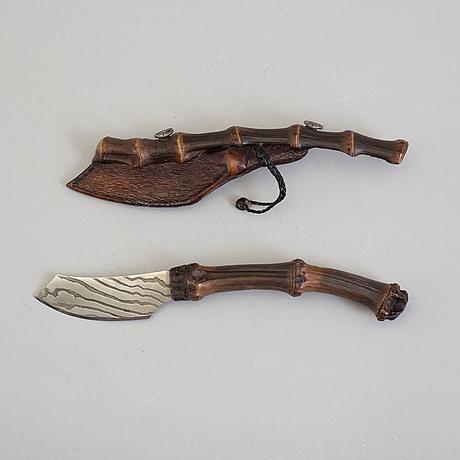 "Andrzej rybak, kniv, ""black bamboo"", samtida"