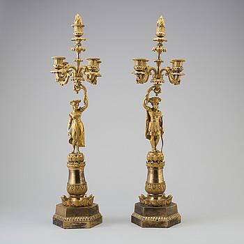 KANDELABRAR, ett par, brons, senempire, 1800-talets mitt.