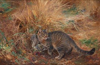 472. Bruno Liljefors, Cat with European green woodpecker.