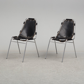 CHARLOTTE PERRIAND, a pair of 'Les Arcs' chairs from the 1970's.