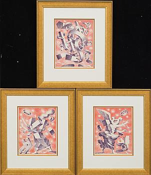 ERIK OLSON, färglitografier 3 st, signerade och daterad 1977,