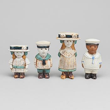 """LISA LARSON, figuriner 4 st, ur """"Sekelskifte"""" 1973 Gustavsberg."""