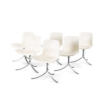 "Four ""PK9/Tulip chair"" chairs, designed by Poul Kjaerholm, produced by Fritz Hansen, 1980s."