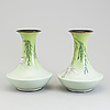 A set of two japanese cloisonne vases, meiji period (1867-1912).