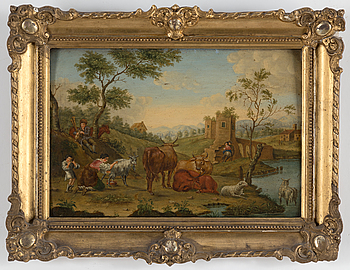 PIETER POTTER, hans art, olja på pannå, 1700-tal.