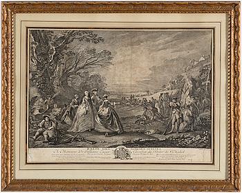 CHARLES PARROCEL, JAQCUeS PHILIPPE LE BAS, kopparstick, två stycken, 1700-tal.