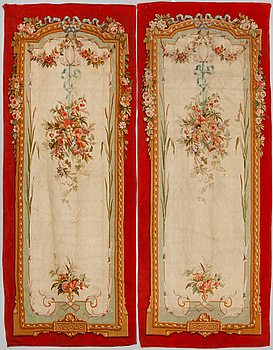 """TAPESTRIES, 1 pair, tapestry weave, so called """"entre-fenêtre"""", Aubusson second half of the 19th century."""