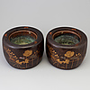 A pair of wooden carved hibichi planters, japan, meiji (1868 1912)