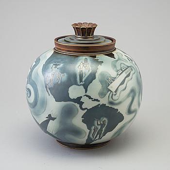 GUNNAR NYLUND, urna med lock, Flambé, stengods, Rörstrand.