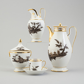 EMPIRE, A 11 pcs first half of the 19th century Empire  porcelain coffee service.