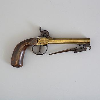 SLAGLÅSPISTOL, belgisk, i mässing, 1800-tal.