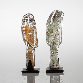 Two glass sculptures by EVA ULLBERG, signed and dated -02.