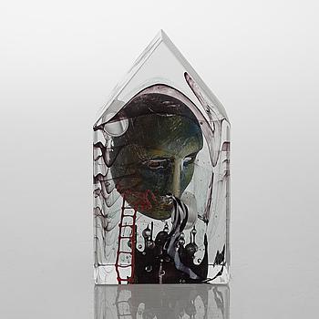 a glass object for Kosta Boda atelier, signed.