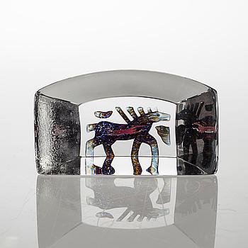 a glass object for Kosta Boda, signed.