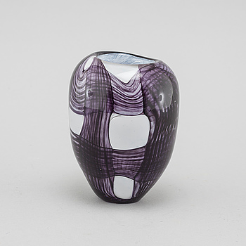 A signed glass vase by Anna Forsling.