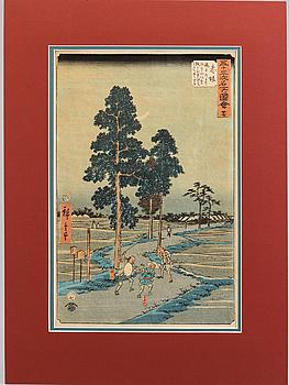 UTAGAWA HIROSHIGE (1797-1858), färgträsnitt. Japan, Akasaka, från The Famous Sights of the 53 Stations, 1800-tal.