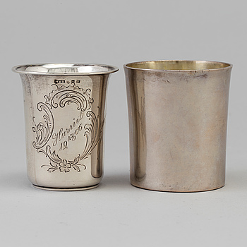 BÄGARE, 2 st, silver, bland annat Johan Petter Hedman, Norrköping, 1829-1861.