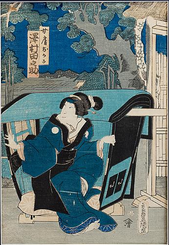 Utagawa kunisada (toyokuni iii)(1786-1864), two color woodblock print. japan, 'actors', 19th c.
