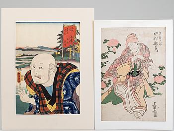 UTAGAWA KUNISADA (Toyokuni III)(1786-1864) and TOYOKUNI I, Two color woodblock print. Japan, 'Actors'.