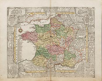 "TOBIAS CONARD LOTTER, copper engraving , ""Le Royaume de France""  from Atlas Novus 1770."