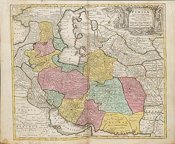 TOBIAS CONRAD LOTTER,map, copper engraving , Persia, from  Atlas Novus 1770.