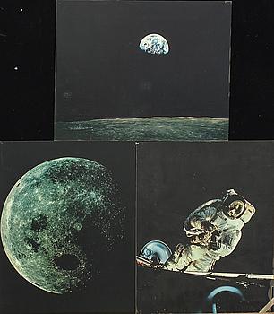 HASSELBLAD / NASA, FOTOREPRODUKTIONER, 3 st, på plastskiva, 1960-tal.