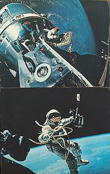 HASSELBLAD / NASA, FOTOREPRODUKTIONER, 2 st, på plastskiva, 1960-tal.