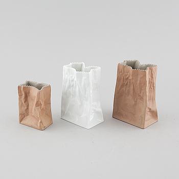 Three porcelain vases, designed by Tapio Wirkkala for Rosenthal Studio Linie.