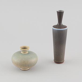 two stoneware vases for Gustavsberg, signed.