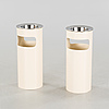 A pair of trash cans with ash trays, designed by g. colombini for kartell, 20th cenutry.