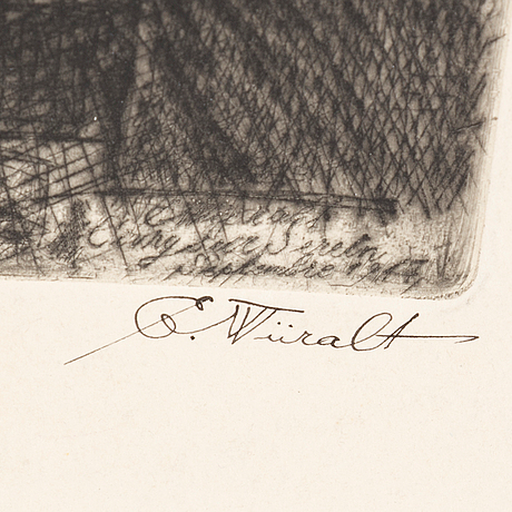Eduard wiiralt, dry needle, signed and numbererd artist's proof iv, dated 1947