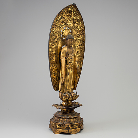 A large wooden lacquered figure of buddha, japan, 19th century