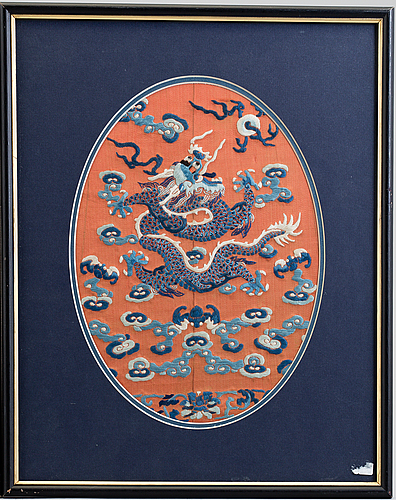 Two silk embroidered pieces, framed, late qing dynasty.