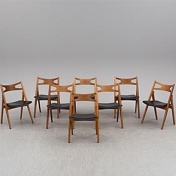 """HANS J WEGNER, stolar, 8 st, """"CH 29/Savbukkestolen"""", Carl Hansen o Søn, Odense, Danmark."""