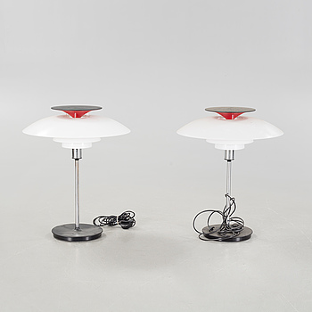 """A pair of """"PH-80"""" table lamps by Poul Henningsen for Louis Poulsen, second half of the 20th century."""